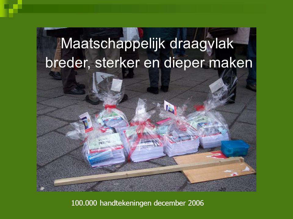 Maatschappelijk draagvlak breder, sterker en dieper maken 100.000 handtekeningen december 2006