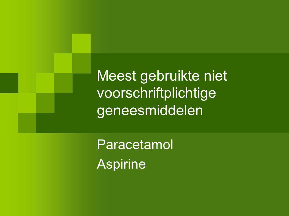 Meest gebruikte niet voorschriftplichtige geneesmiddelen Paracetamol Aspirine