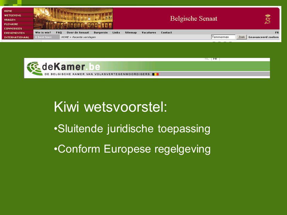 Kiwi wetsvoorstel: Sluitende juridische toepassing Conform Europese regelgeving