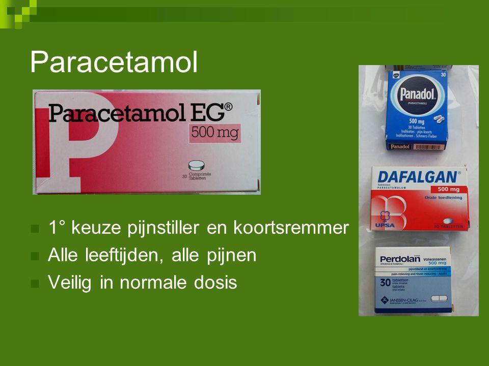 Paracetamol 1° keuze pijnstiller en koortsremmer Alle leeftijden, alle pijnen Veilig in normale dosis