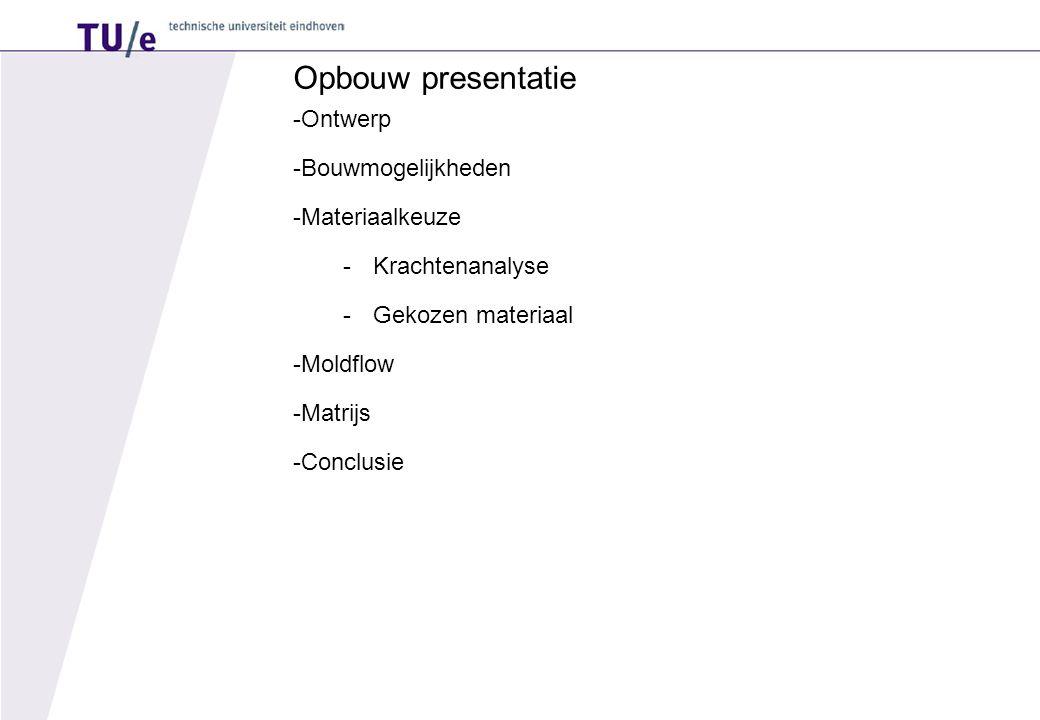 Opbouw presentatie -Ontwerp -Bouwmogelijkheden -Materiaalkeuze -Krachtenanalyse -Gekozen materiaal -Moldflow -Matrijs -Conclusie