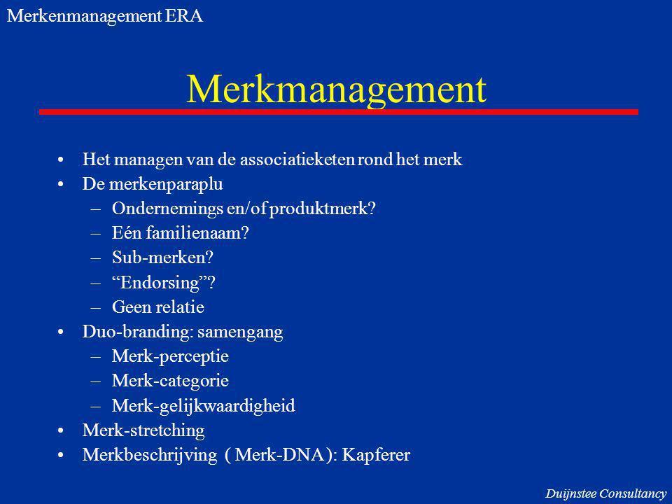 """Merkmanagement Het managen van de associatieketen rond het merk De merkenparaplu –Ondernemings en/of produktmerk? –Eén familienaam? –Sub-merken? –""""End"""
