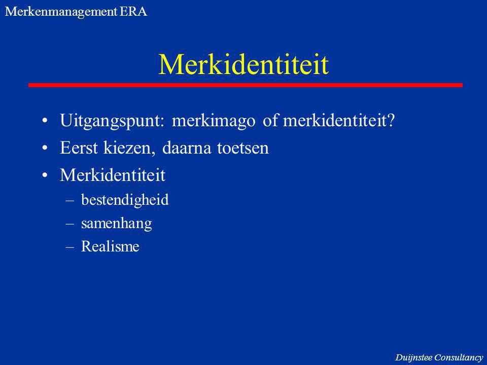 Merkidentiteit Uitgangspunt: merkimago of merkidentiteit? Eerst kiezen, daarna toetsen Merkidentiteit –bestendigheid –samenhang –Realisme Merkenmanage