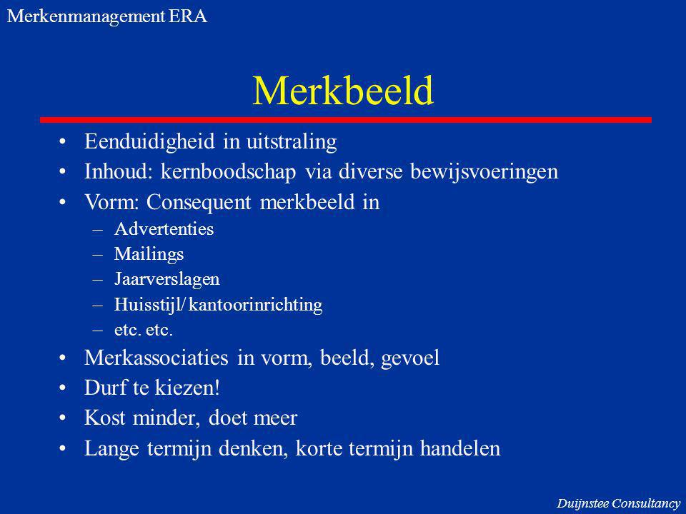 Merkbeeld Eenduidigheid in uitstraling Inhoud: kernboodschap via diverse bewijsvoeringen Vorm: Consequent merkbeeld in –Advertenties –Mailings –Jaarverslagen –Huisstijl/ kantoorinrichting –etc.