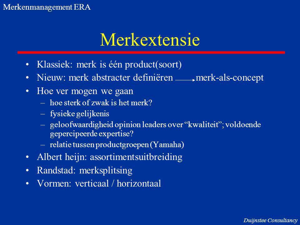 Merkextensie Klassiek: merk is één product(soort) Nieuw: merk abstracter definiëren merk-als-concept Hoe ver mogen we gaan –hoe sterk of zwak is het m