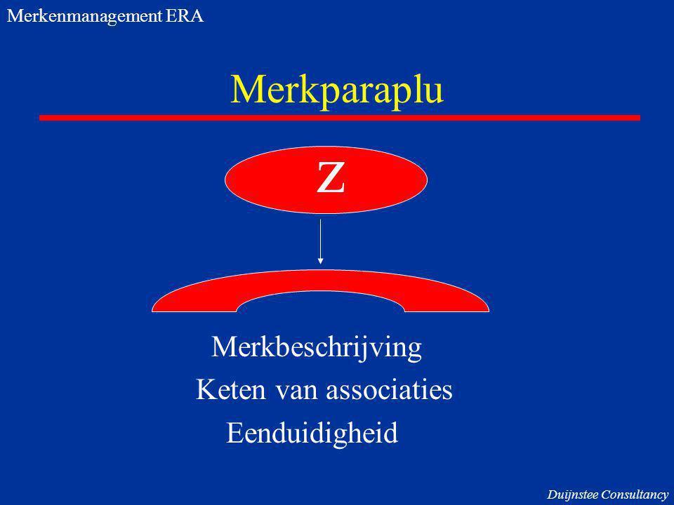 Merkparaplu Merkbeschrijving Keten van associaties Eenduidigheid z Merkenmanagement ERA Duijnstee Consultancy