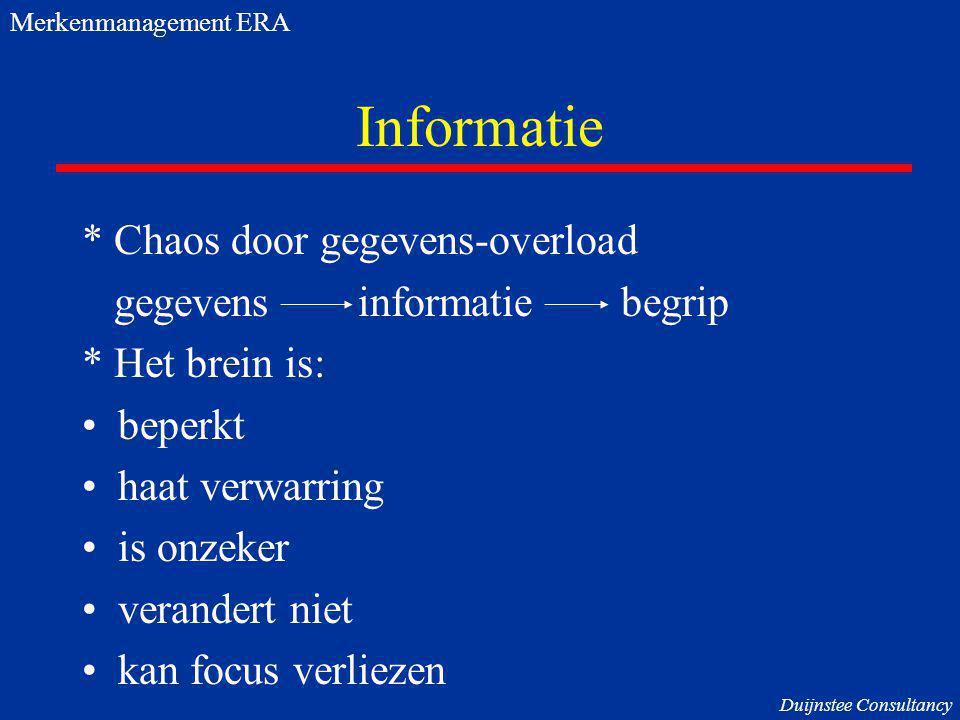 Informatie * Chaos door gegevens-overload gegevens informatie begrip * Het brein is: beperkt haat verwarring is onzeker verandert niet kan focus verli