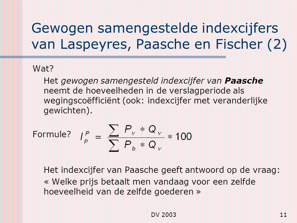 DV 200311 Gewogen samengestelde indexcijfers van Laspeyres, Paasche en Fischer (2) Wat.