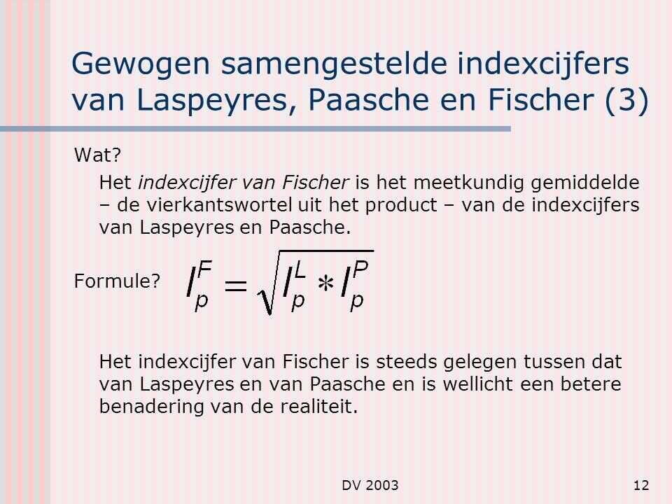 DV 200312 Gewogen samengestelde indexcijfers van Laspeyres, Paasche en Fischer (3) Wat.
