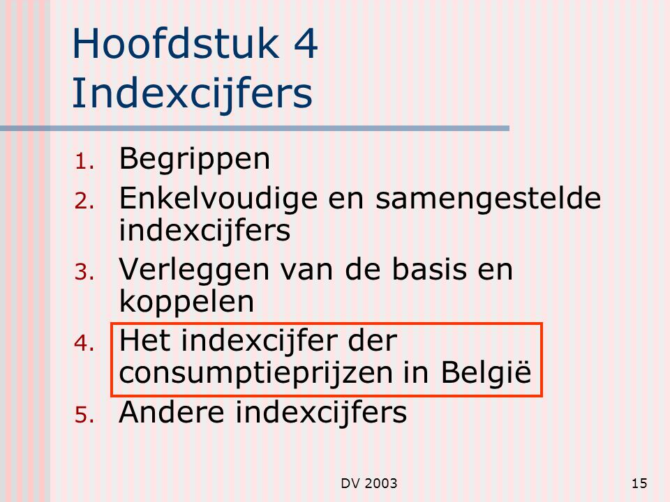 DV 200315 Hoofdstuk 4 Indexcijfers 1.Begrippen 2.