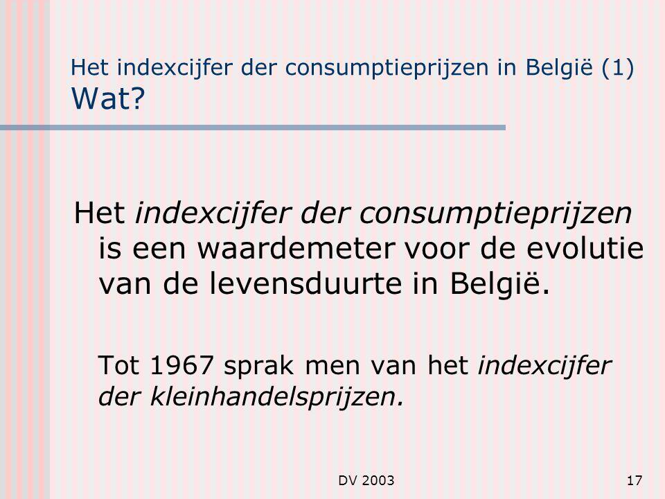 DV 200317 Het indexcijfer der consumptieprijzen in België (1) Wat.