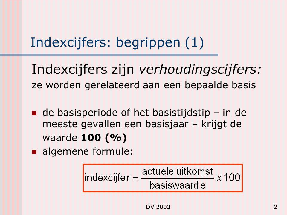 DV 20032 Indexcijfers: begrippen (1) Indexcijfers zijn verhoudingscijfers: ze worden gerelateerd aan een bepaalde basis de basisperiode of het basistijdstip – in de meeste gevallen een basisjaar – krijgt de waarde 100 (%) algemene formule: