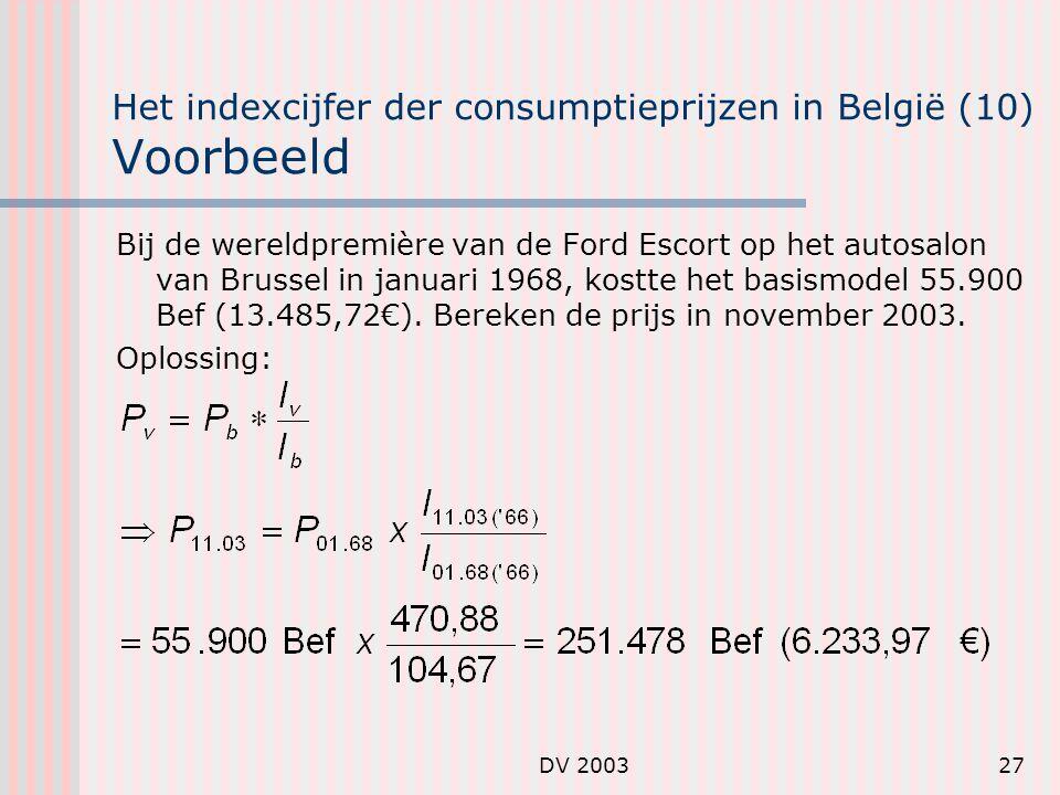 DV 200327 Het indexcijfer der consumptieprijzen in België (10) Voorbeeld Bij de wereldpremière van de Ford Escort op het autosalon van Brussel in januari 1968, kostte het basismodel 55.900 Bef (13.485,72€).