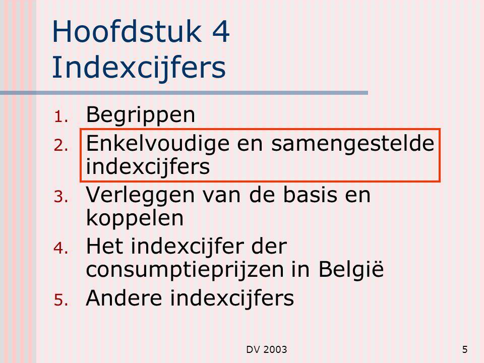 DV 20036 Enkelvoudige indexcijfers Enkelvoudige of partiële indexcijfers hebben betrekking op slechts één object of artikel: prijs-indexcijfer: hoeveelheid-indexcijfer: waarde-indexcijfer: