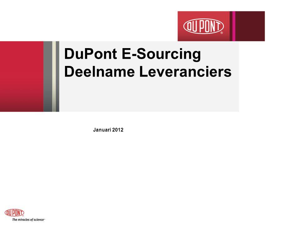 DuPont E-Sourcing Deelname Leveranciers Januari 2012