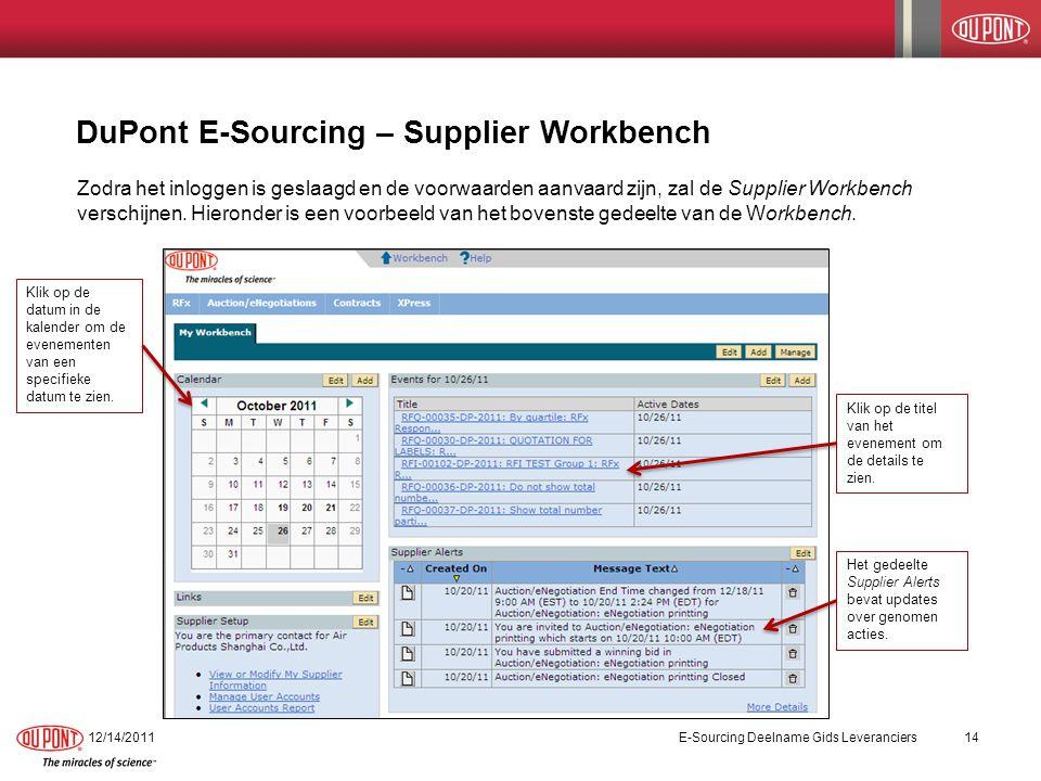 DuPont E-Sourcing – Supplier Workbench 12/14/2011E-Sourcing Deelname Gids Leveranciers14 Zodra het inloggen is geslaagd en de voorwaarden aanvaard zijn, zal de Supplier Workbench verschijnen.