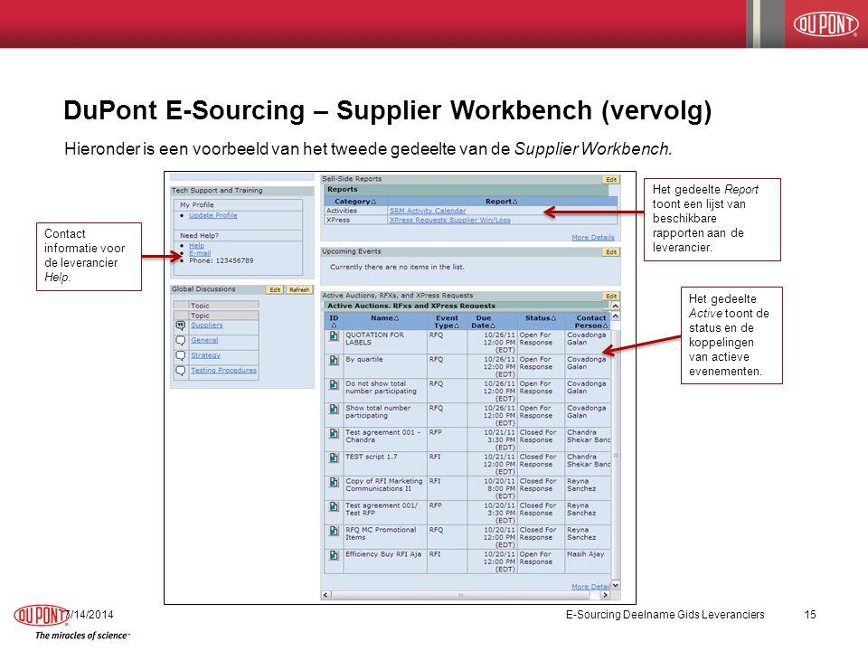 DuPont E-Sourcing – Supplier Workbench (vervolg) 7/14/2014E-Sourcing Deelname Gids Leveranciers15 Hieronder is een voorbeeld van het tweede gedeelte van de Supplier Workbench.