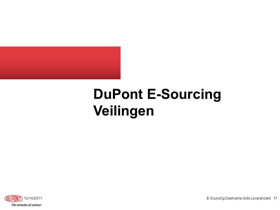 DuPont E-Sourcing Veilingen 12/14/2011E-Sourcing Deelname Gids Leveranciers17