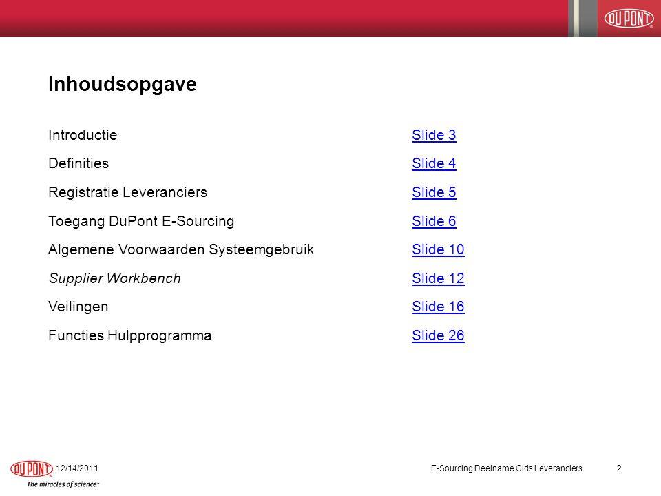 Inhoudsopgave IntroductieSlide 3Slide 3 Definities Slide 4Slide 4 Registratie LeveranciersSlide 5Slide 5 Toegang DuPont E-Sourcing Slide 6Slide 6 Alge