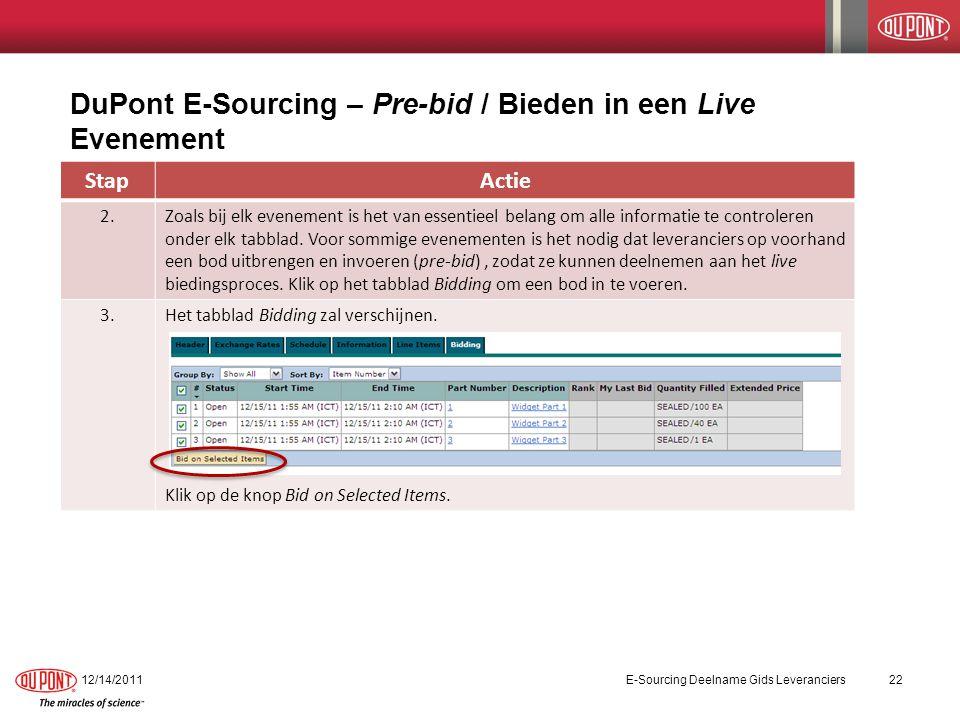 DuPont E-Sourcing – Pre-bid / Bieden in een Live Evenement 12/14/2011E-Sourcing Deelname Gids Leveranciers22 StapActie 2.Zoals bij elk evenement is het van essentieel belang om alle informatie te controleren onder elk tabblad.