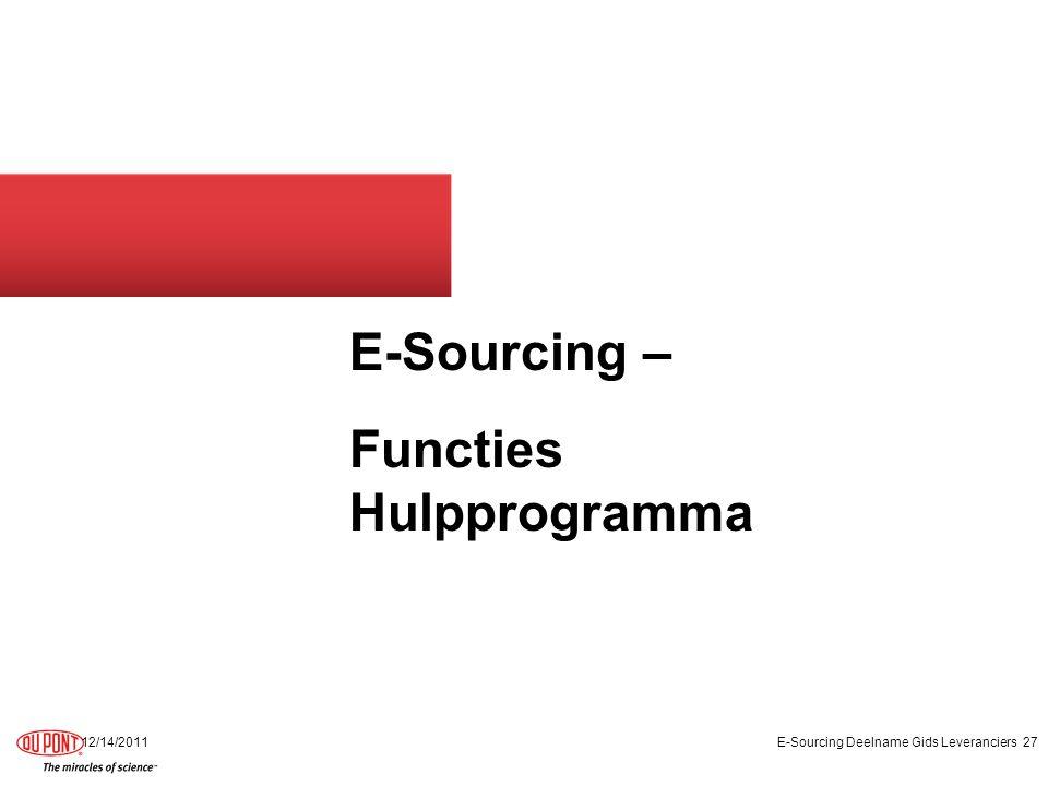 E-Sourcing – Functies Hulpprogramma 12/14/2011E-Sourcing Deelname Gids Leveranciers27