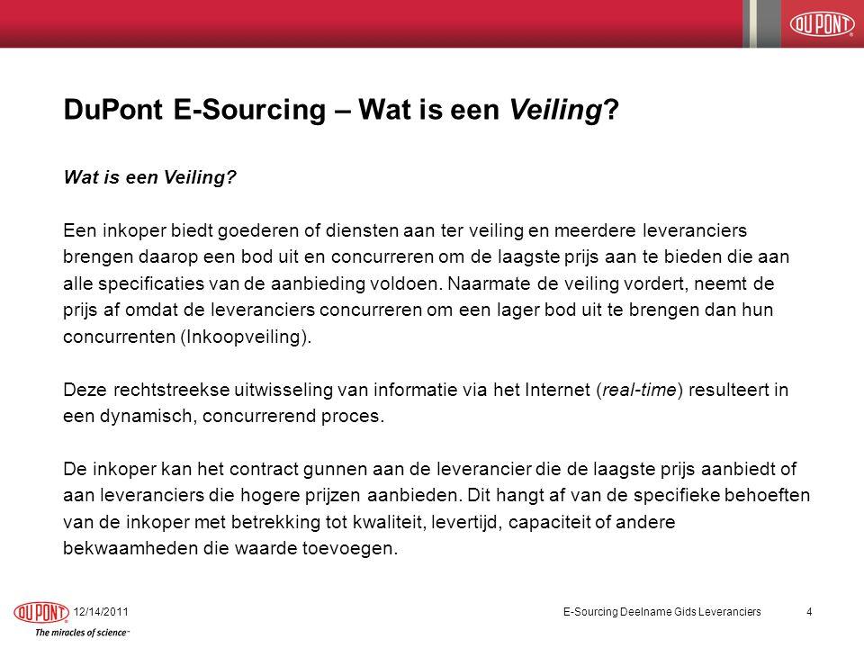 DuPont E-Sourcing – Wat is een Veiling? Wat is een Veiling? Een inkoper biedt goederen of diensten aan ter veiling en meerdere leveranciers brengen da
