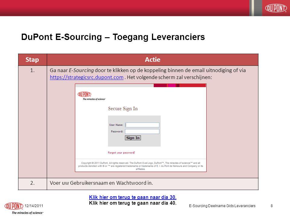 StapActie 1.Ga naar E-Sourcing door te klikken op de koppeling binnen de email uitnodiging of via https://strategicsrc.dupont.com. Het volgende scherm