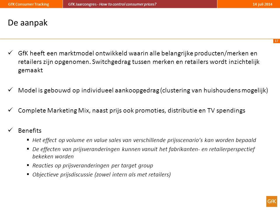 17 GfK Consumer TrackingGfK Jaarcongres - How to control consumer prices?14 juli 2014 De aanpak GfK heeft een marktmodel ontwikkeld waarin alle belangrijke producten/merken en retailers zijn opgenomen.