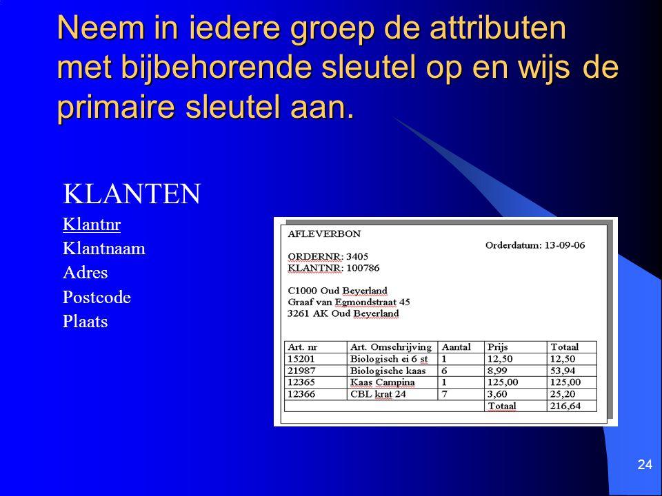 24 KLANTEN Klantnr Klantnaam Adres Postcode Plaats Neem in iedere groep de attributen met bijbehorende sleutel op en wijs de primaire sleutel aan.