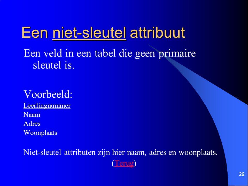 29 Een niet-sleutel attribuut Een veld in een tabel die geen primaire sleutel is. Voorbeeld: Leerlingnummer Naam Adres Woonplaats Niet-sleutel attribu