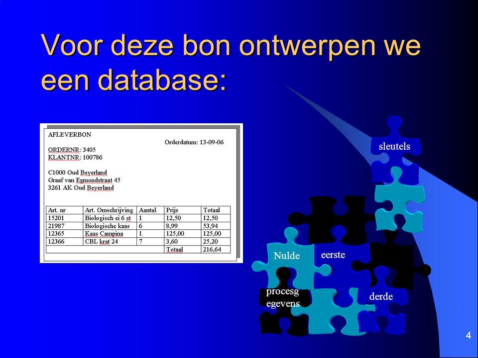4 Voor deze bon ontwerpen we een database: derde eerste Nulde procesg egevens sleutels