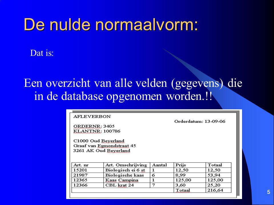 5 De nulde normaalvorm: Een overzicht van alle velden (gegevens) die in de database opgenomen worden.!! Dat is: