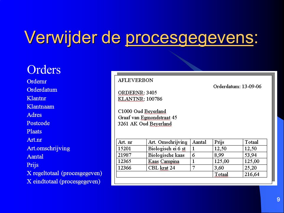 9 Verwijder de procesgegevens: Orders Ordernr Orderdatum Klantnr Klantnaam Adres Postcode Plaats Art.nr Art.omschrijving Aantal Prijs X regeltotaal (p