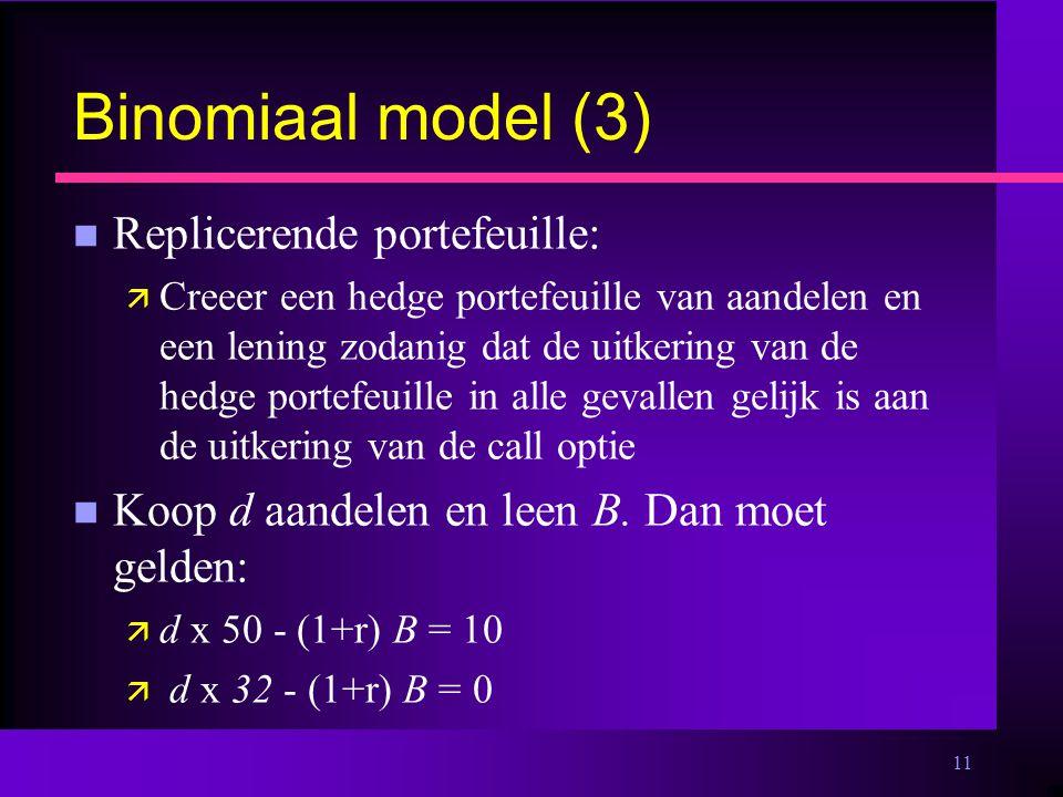 11 Binomiaal model (3) n Replicerende portefeuille: ä Creeer een hedge portefeuille van aandelen en een lening zodanig dat de uitkering van de hedge portefeuille in alle gevallen gelijk is aan de uitkering van de call optie n Koop d aandelen en leen B.