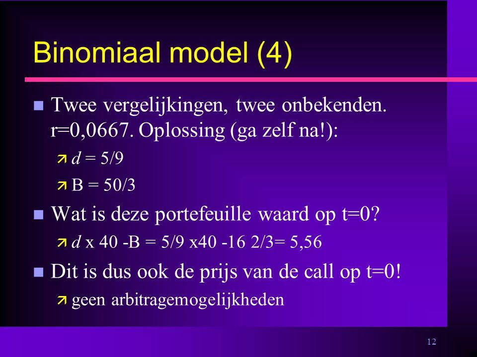 12 Binomiaal model (4) n Twee vergelijkingen, twee onbekenden.