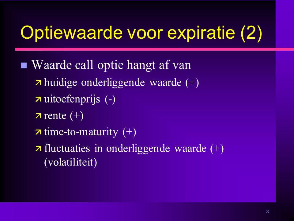 8 Optiewaarde voor expiratie (2) n Waarde call optie hangt af van ä huidige onderliggende waarde (+) ä uitoefenprijs (-) ä rente (+) ä time-to-maturity (+) ä fluctuaties in onderliggende waarde (+) (volatiliteit)
