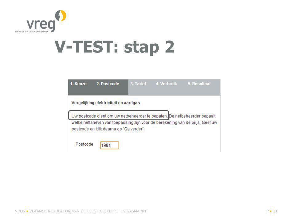V-TEST: stap 2 VREG VLAAMSE REGULATOR VAN DE ELEKTRICITEITS- EN GASMARKTP 11