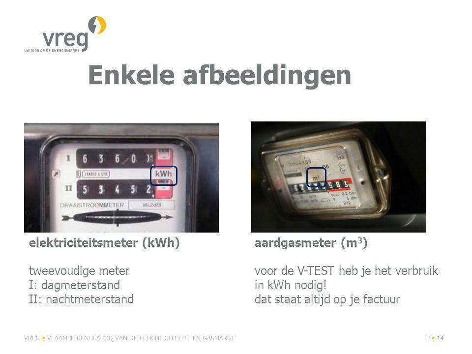Enkele afbeeldingen VREG VLAAMSE REGULATOR VAN DE ELEKTRICITEITS- EN GASMARKTP 14 elektriciteitsmeter (kWh) tweevoudige meter I: dagmeterstand II: nachtmeterstand aardgasmeter (m 3 ) voor de V-TEST heb je het verbruik in kWh nodig.