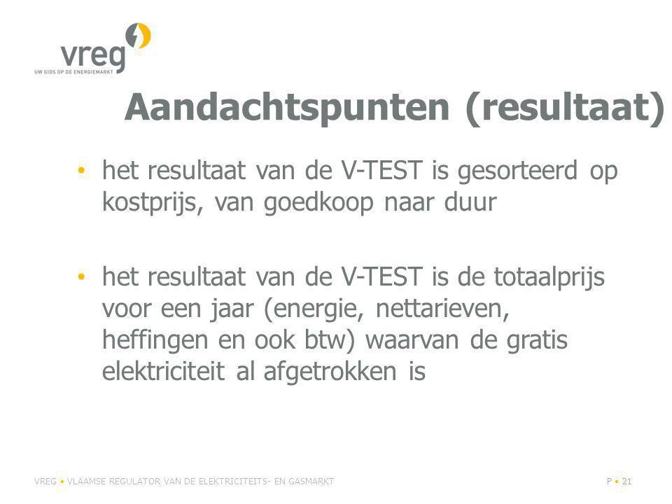 Aandachtspunten (resultaat) het resultaat van de V-TEST is gesorteerd op kostprijs, van goedkoop naar duur het resultaat van de V-TEST is de totaalprijs voor een jaar (energie, nettarieven, heffingen en ook btw) waarvan de gratis elektriciteit al afgetrokken is VREG VLAAMSE REGULATOR VAN DE ELEKTRICITEITS- EN GASMARKTP 21