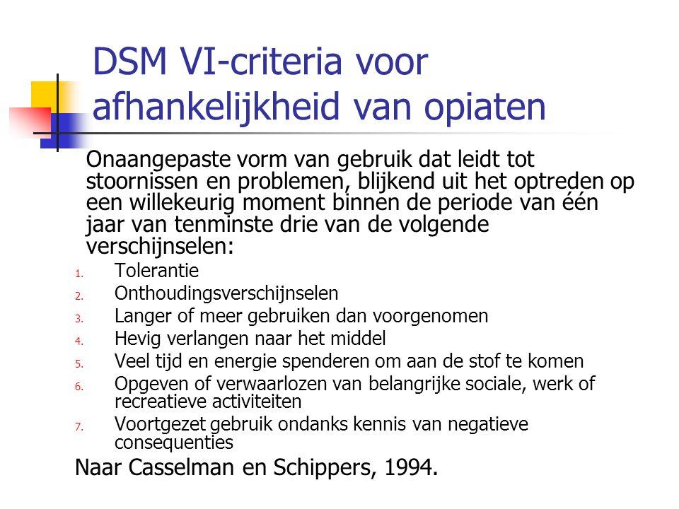 DSM VI-criteria voor afhankelijkheid van opiaten Onaangepaste vorm van gebruik dat leidt tot stoornissen en problemen, blijkend uit het optreden op ee