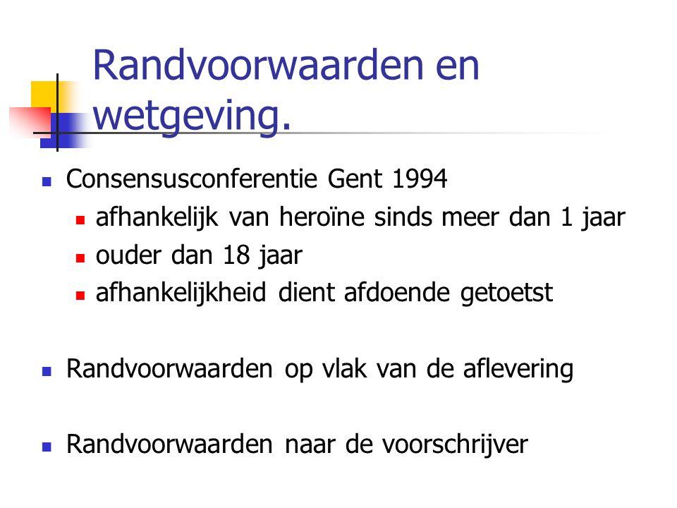 Randvoorwaarden en wetgeving. Consensusconferentie Gent 1994 afhankelijk van heroïne sinds meer dan 1 jaar ouder dan 18 jaar afhankelijkheid dient afd