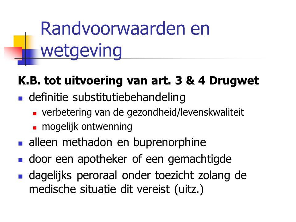 Randvoorwaarden en wetgeving K.B. tot uitvoering van art. 3 & 4 Drugwet definitie substitutiebehandeling verbetering van de gezondheid/levenskwaliteit