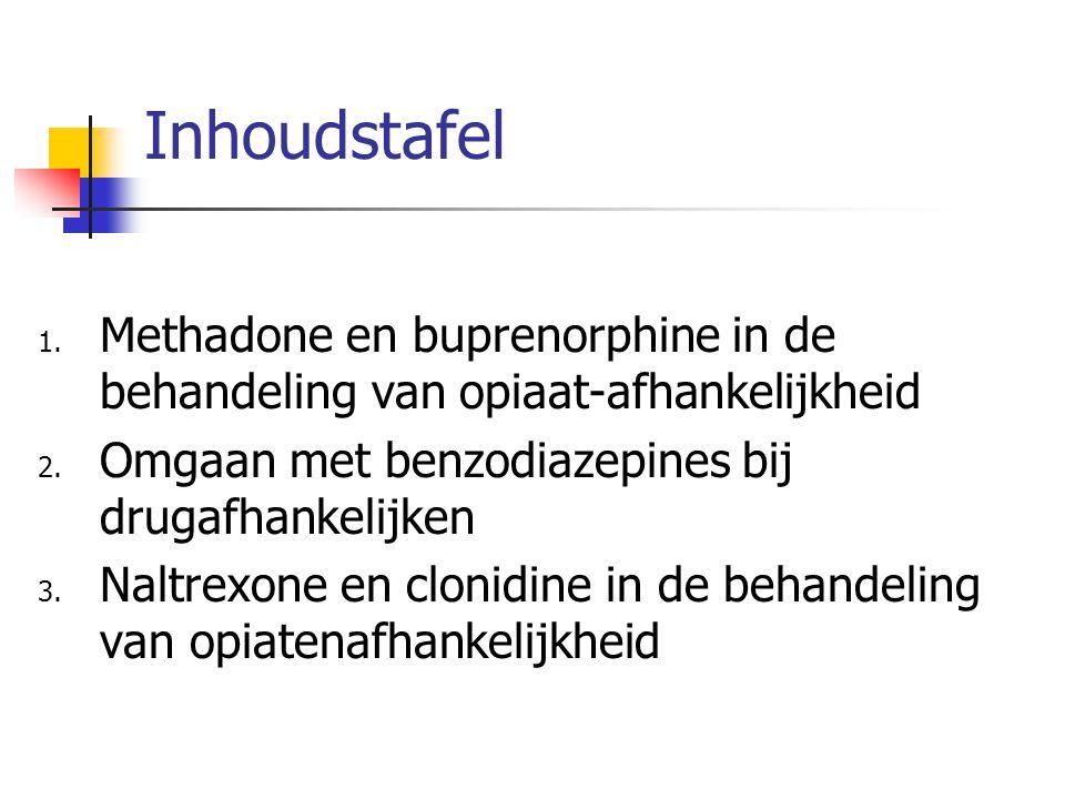 Alfa2adrenerge agonisten bij detoxificatie van opiatenafhankelijkheid Risico's: Bloeddrukval (minder bij lofexidine) Verslaving en dervingsverschijnselen gemeld (niet bij lofexidine) Hartfalen, nierfalen, hypotensie (contraindicaties) Effectiviteit: Succespercentage (afmaken van detox heroine) ongeveer idem methadon Resultaten onduidelijk.