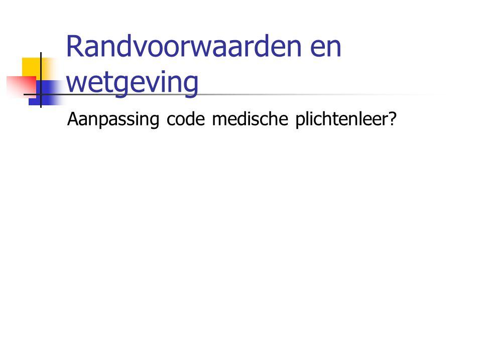 Randvoorwaarden en wetgeving Aanpassing code medische plichtenleer?