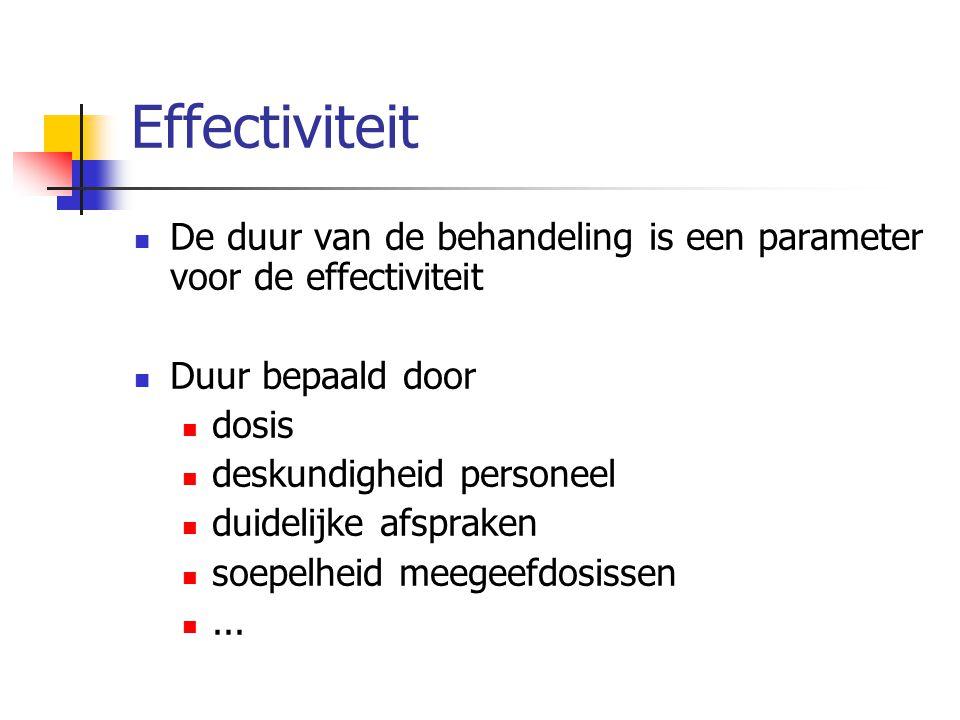 Effectiviteit De duur van de behandeling is een parameter voor de effectiviteit Duur bepaald door dosis deskundigheid personeel duidelijke afspraken s