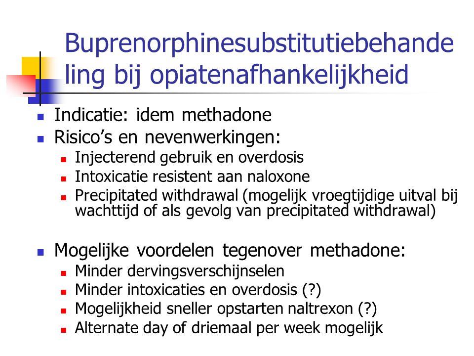 Buprenorphinesubstitutiebehande ling bij opiatenafhankelijkheid Indicatie: idem methadone Risico's en nevenwerkingen: Injecterend gebruik en overdosis