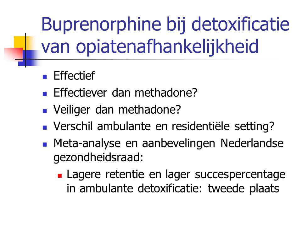 Buprenorphine bij detoxificatie van opiatenafhankelijkheid Effectief Effectiever dan methadone? Veiliger dan methadone? Verschil ambulante en resident