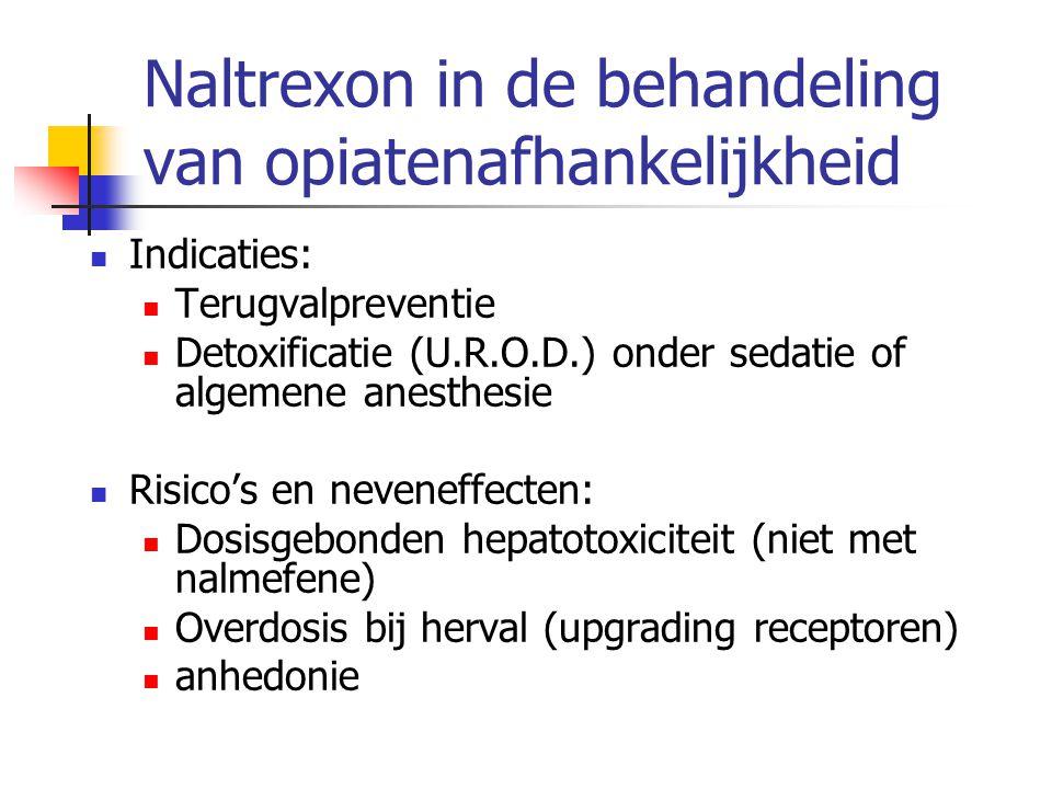 Naltrexon in de behandeling van opiatenafhankelijkheid Indicaties: Terugvalpreventie Detoxificatie (U.R.O.D.) onder sedatie of algemene anesthesie Ris