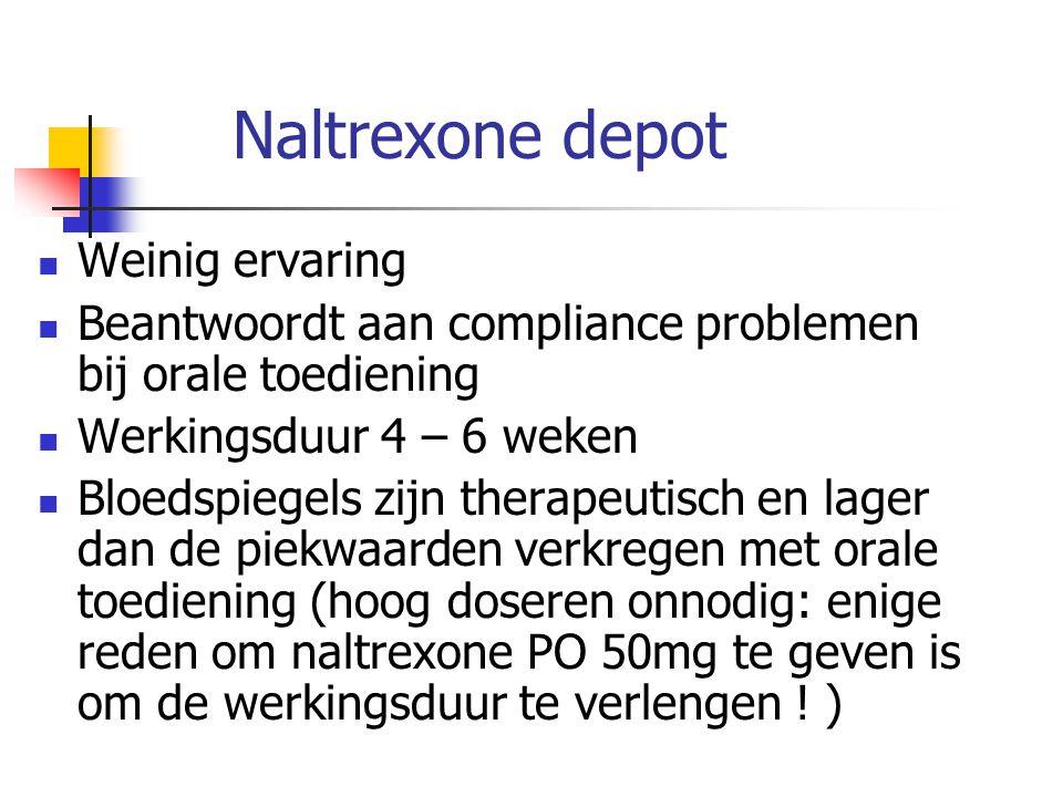 Naltrexone depot Weinig ervaring Beantwoordt aan compliance problemen bij orale toediening Werkingsduur 4 – 6 weken Bloedspiegels zijn therapeutisch e