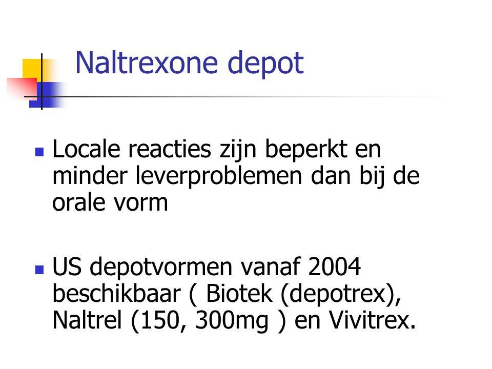 Naltrexone depot Locale reacties zijn beperkt en minder leverproblemen dan bij de orale vorm US depotvormen vanaf 2004 beschikbaar ( Biotek (depotrex)